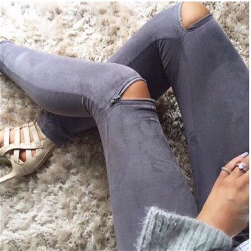 New Fashion Sexy Knee Zipper Fitness   Leggings   Women Elastic Stretch Imitation Leather Leisure Slim Fit Pencil Pants   Leggings