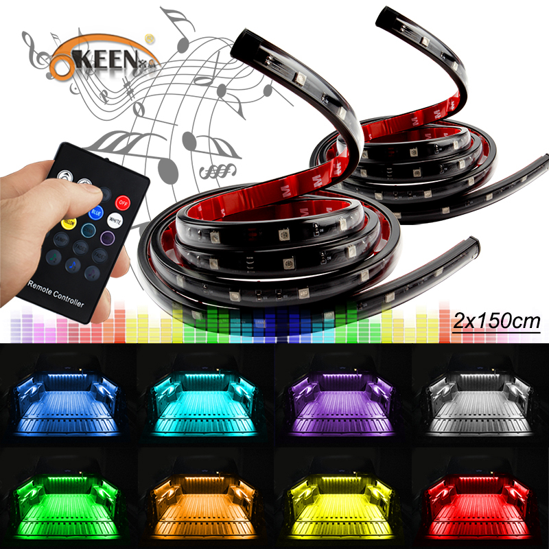 OKEEN 24V 8 Colors Wireless Remote music Car Truck Pickup Bed Tailgate Underbody Side Marker LED Light bar Kit 2pcs car styling