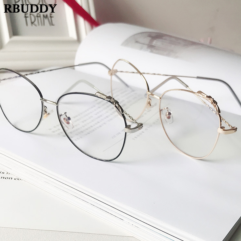 Vintage Round Metal Transparent Glasses Frame Fake Glasses Computer
