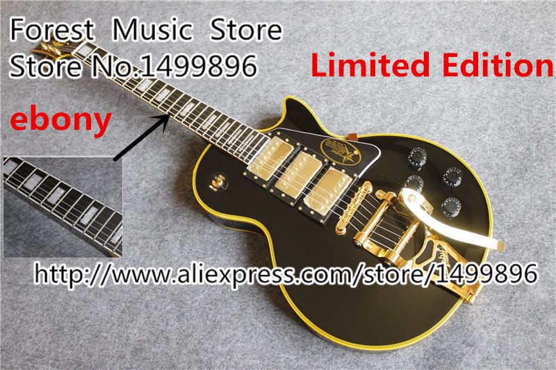 China Limited Edition Jimmy Page Black LP Electric Guitars Gold Hardware & Ebony Fretsboard In Stock 1 pair auto brand emblem logo led lamp laser shadow car door welcome step projector shadow ghost light for audi vw chevys honda page 5