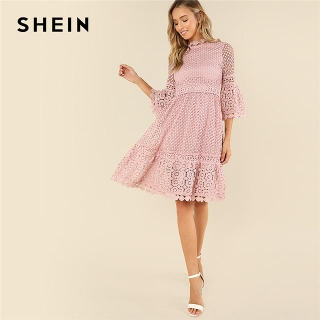 4dd7df6b8 SHEIN Pink Elegant Guipure Lace Sheer Stand Collar Three Quarter Length  Flounce Sleeve Dress Summer Women