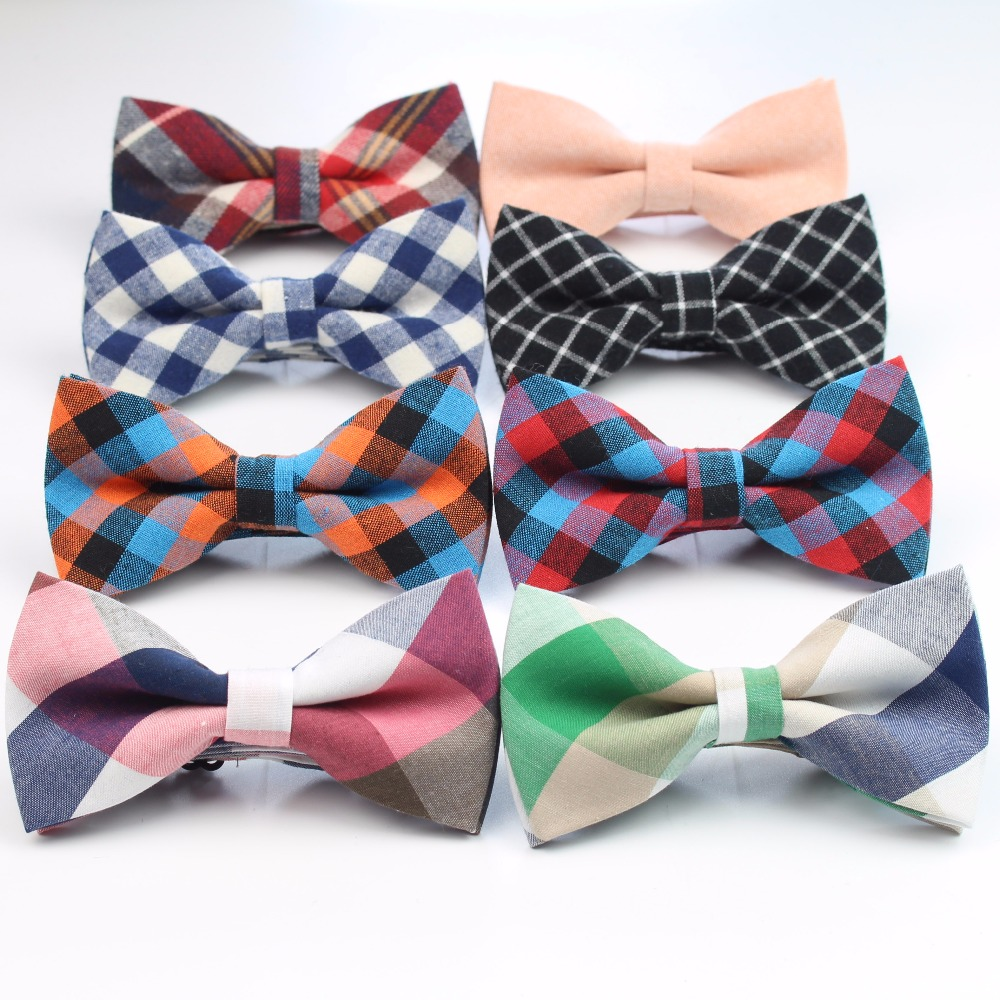 Men Bow Tie Plaid Style Cotton Bowtie Casual Gravata Borboleta Butterfly Tartan Strip Colorful Ties