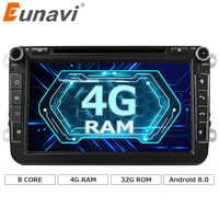 Eunavi 2 din Android 8.0 Octa base 4 GB RAM DVD De Voiture pour VW Passat CC Polo DE GOLF 5 6 Touran EOS T5 Sharan Jetta Tiguan GPS Radio bt