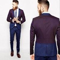 Latest Coat Pant Designs Purple And Blue Panelled Formal Fashion Bridegroom Suit For Men 2 Pieces Slim Fit Blazer Masculino C