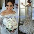 Fantástico Cuello Barco Sirena de La Boda Vestidos de Rebordear la Capilla de Tren Vestido de Novia robe de mariage vestidos de novia Vestidos de Novia