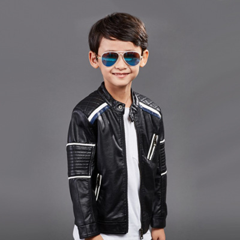 2017 Spring Autumn New Children Clothing High Quality PU Leather Jackets Boys Fashion Outerwear 3-8 Years Old Girls Black Coats high quality 3 11yrs boys