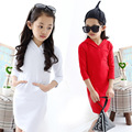 kids Girls long-sleeved solid color dress 2017 new baby girls fashion clothing big virgin knit dress 4/5/6/7/8/10/11/12/13 years