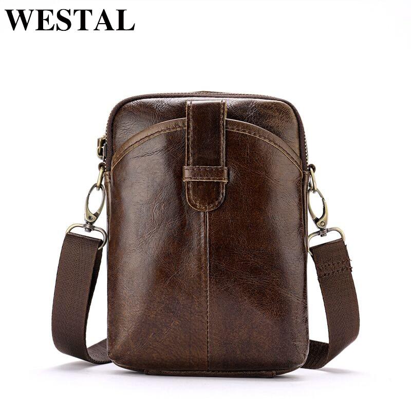 bf6d739546c94 WESTAL hakiki deri omuz çantası erkekler omuz bel çantası bel paketleri  küçük heuptas kılıfı için adam crossbody yeni tasarım 8322