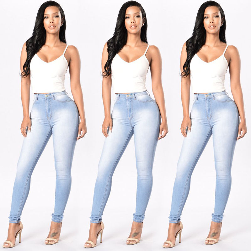 Plus Size New Women Lady Denim Skinny Pants High Waist Stretch Jeans Slim Pencil Trousers Rompers inc international concepts plus size new charcoal pull on skinny pants 14wp $59