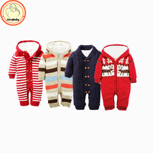 2016 Autumn Winter Baby Romper Boy Girl Jumpsuit Winter coveralls Jersey Soft Hooded Warm Knit thickened Variety Clothes