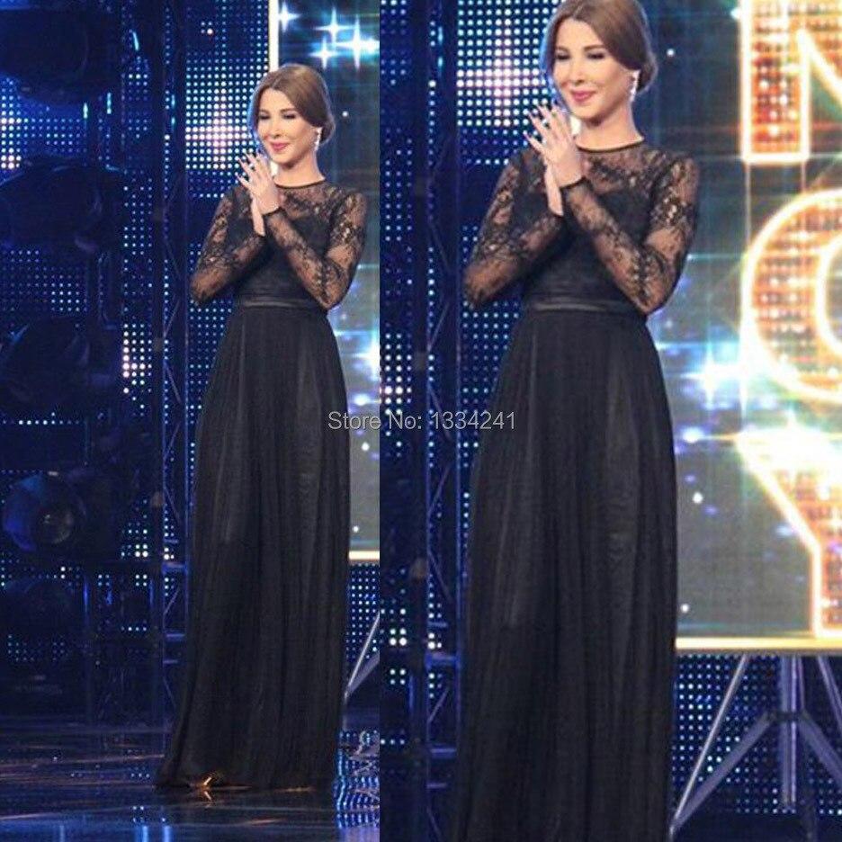 Aliexpress.com Acheter Arabe Idol Nancy Ajram Jewel noir dentelle Eveing  robe à manches longues robe De Festa de lace pink dress fiable fournisseurs  sur