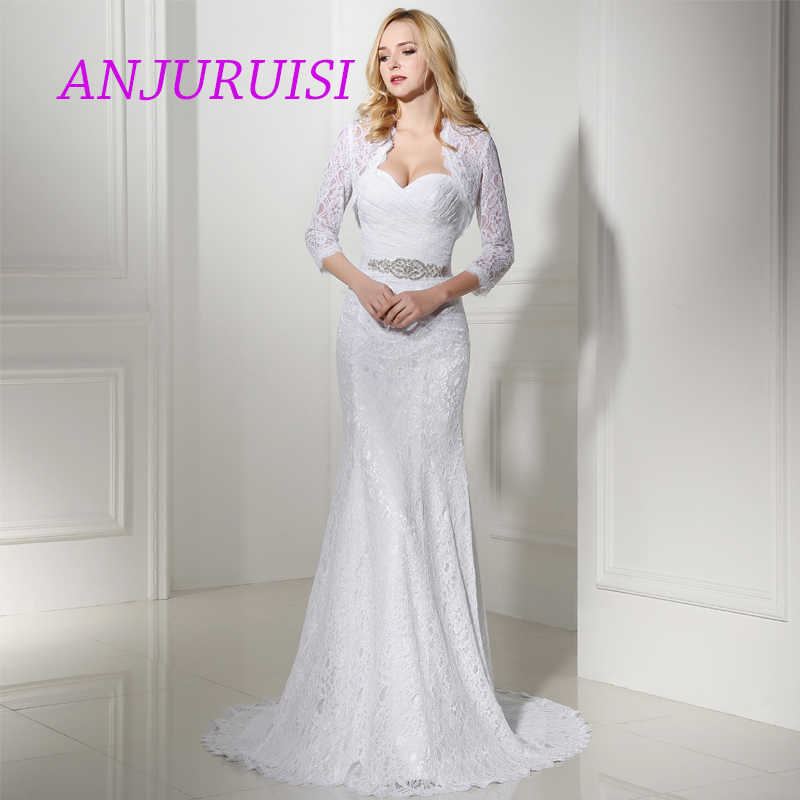 ANJURUISI Elegant White Lace Wedding Dresses Mermaid 2019 Bridal Gowns Vintage Boho Wedding Gowns Cheap Sereia With Jacket