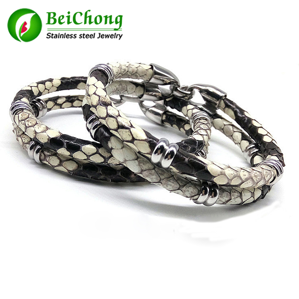 (10 pieces/lot) Mens Black Python Skin Leather Bracelets Real Python Skin Leather With Stainless Steel Buckle Bead Bracelet