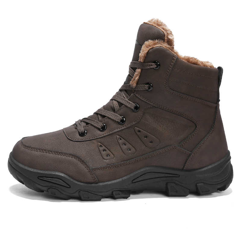 2d28249639a KOZLOV Keep Warm Snow Boots Men Winter Casual Shoes Leather Waterproof Work  Safety Men Ankle Boots Military Army Botas Plus Size