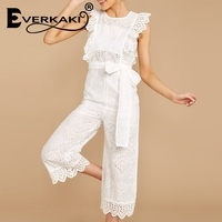 Everkaki Cotton linen ruffled embroidery women jumpsuit Elegant hollow out sashes long jumpsuit romper Casual ladies overalls