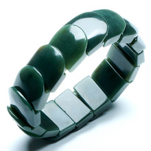 DropShipping Natural XinJiang HeTian Qing Jade Bracelets Lucky Amulet Square Bracelet & bangles For Women Men Gift