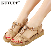 KUYUPP Big Size 44 Women Shoes Comfort Sandals Summer Fashion Flip Flops High Quality Flat Sandals