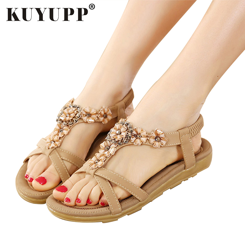 KUYUPP Big Size 44 Women Shoes Comfort Sandals Summer Fashion Flip Flops High Quality Flat Sandals Gladiator Sandalias YDT239 high quality fashion women sandals flat shoes summer pee toe sandals indoor&outdoor leisure shoes dropshipping ma31