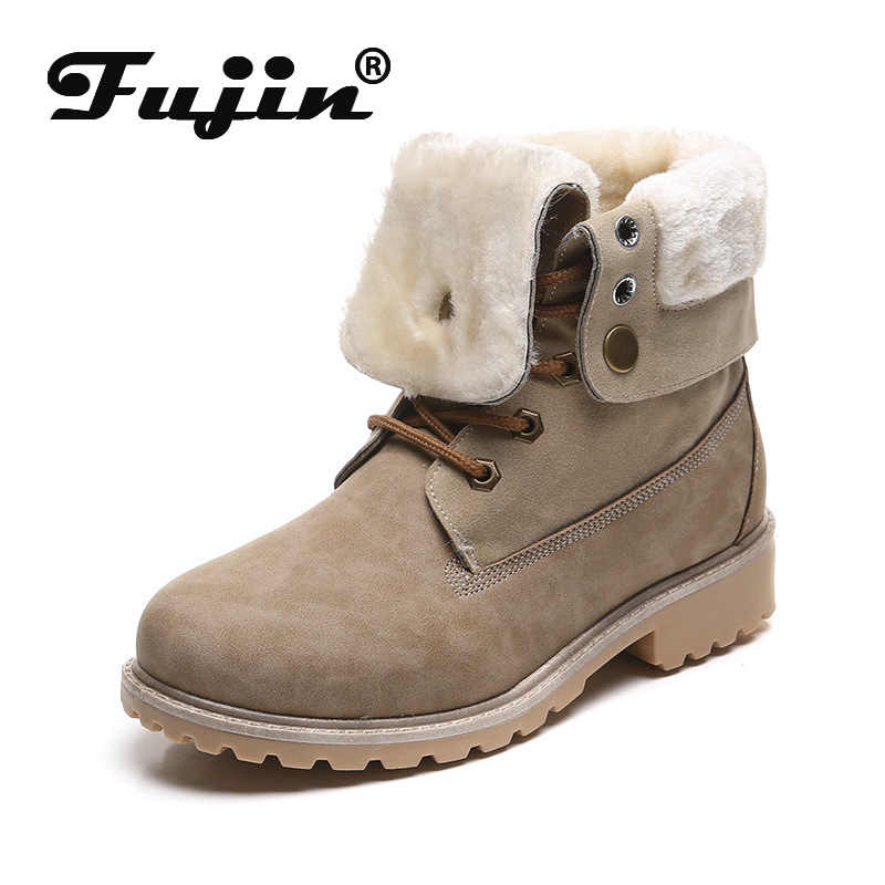 Fujin 2019 Winter Boots Fur Turn Over Boots Women Plush Warm Fashion Shoes Platform Booties Female Ladies Boots