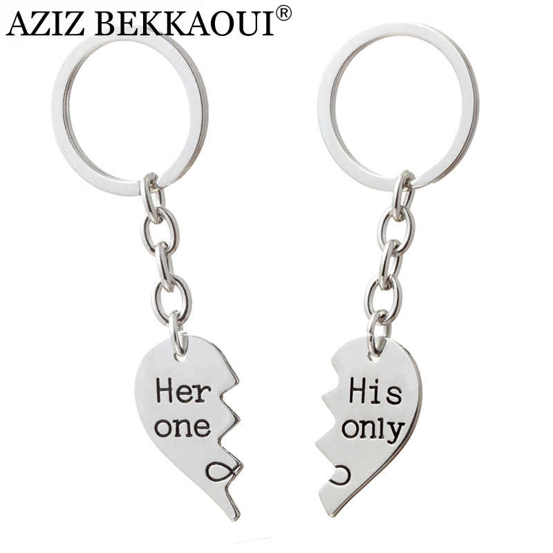 AZIZ BEKKAOUI His One & Her Only Couple Keychain Fashion Jewelry Stitching Heart Keyrings for Lovers Gift Dropshipping