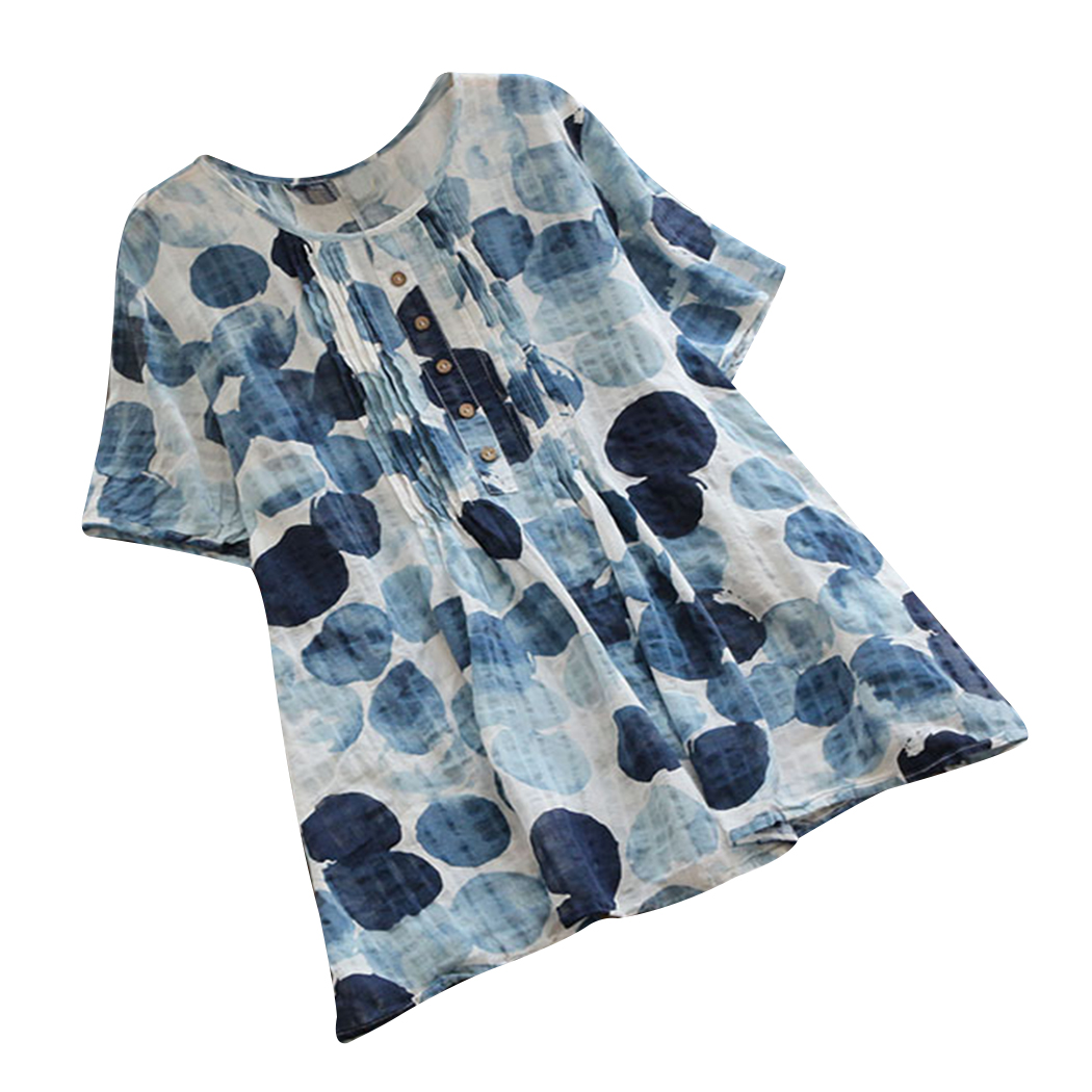 Señoras Plus Boho Botón blue Black Impreso purple Tamaño Algodón Suelta Nuevo Blusa Mujeres Vintage Tops Túnica Verano Camiseta vq4xW7zwWO
