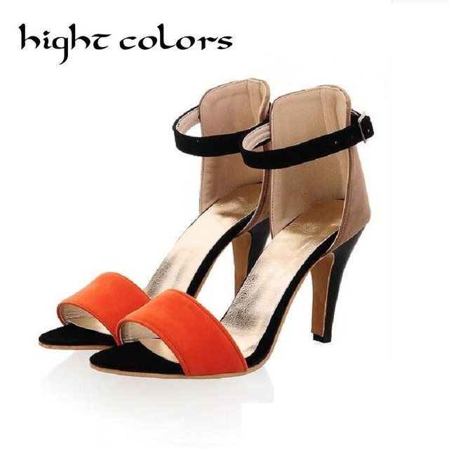 Heels 61 Gladiator Block Strap Ankle Sandals Fashion Summer Women Us18 For 51OffBuy Color Concise High EIH2D9