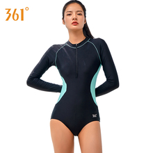Купить с кэшбэком 361 Women Triangle Sexy Swimsuit Black One Piece Push Up Swimwear Professional Sports Long Sleeve Pool Bathing Suit for Women