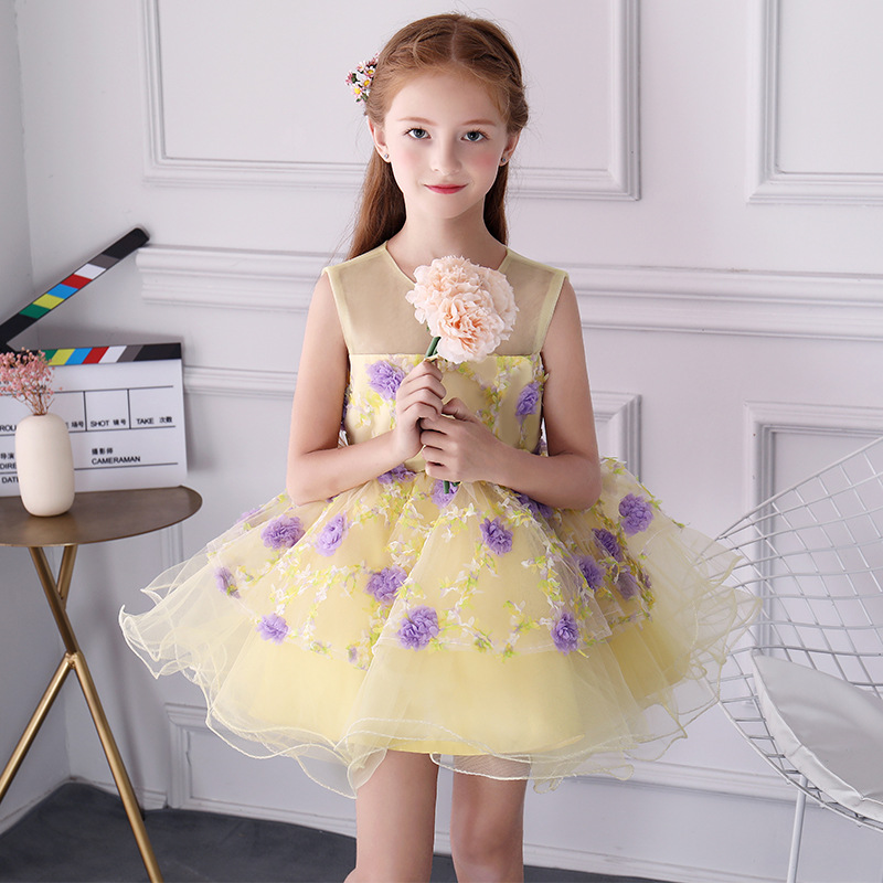 1-12Y Kids Pageant Gown for Wedding Birthday Party Summer Girl Dress Ball Gown Princess Dress Appliques Flower Girl Dresses AA84 luxury blue appliques girls pageant dresses ball gown children birthday wedding party dress teenage princess gown custom made