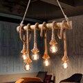 Винтажная Подвесная лампа из бамбуковой веревки в стиле ретро  деревенская плетеная Подвесная лампа с 4/6 лампами для столовой  гостиной