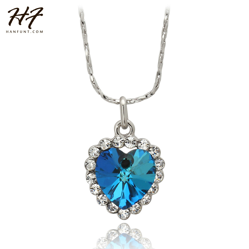 ④top Quality N109 Heart Of Ocean Necklace Sliver Color Fashion