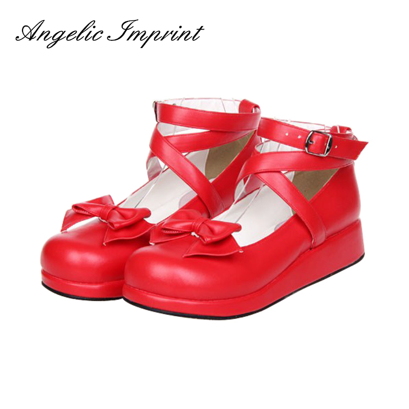 Japanese Sweet Princess Lolita Cosplay Party Shoes Buckle Ankle Strap Wedge Women Red PumpsJapanese Sweet Princess Lolita Cosplay Party Shoes Buckle Ankle Strap Wedge Women Red Pumps