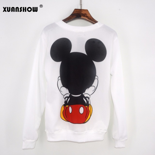 XUANSHOW 2018 Women Sweatshirts Hoodies Character Printed Casual Pullover Cute Jumpers Top Long Sleeve O-Neck Fleece Tops S-XXL 3