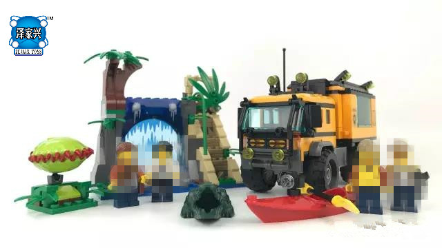 City Model  460pcs Jungle DIY Mobile Lab Figures Building Blocks Bricks Toys Compatible with Lepins for Children 10646 160pcs city figures fishing boat model building kits blocks diy bricks toys for children gift compatible 60147