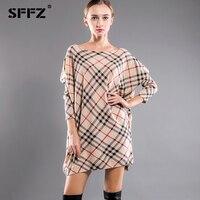 SFFZ 2017 Nouvelles Femmes De Mode Tricoté Surdimensionné Rayé Robe Pull Impression Chauve-Souris Manches Femmes Casual Pull Plus La Taille 6141