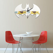 Batman DIY wall clock Creative hero Living room Halloween home decoration mirror gold self-adhesive sticker