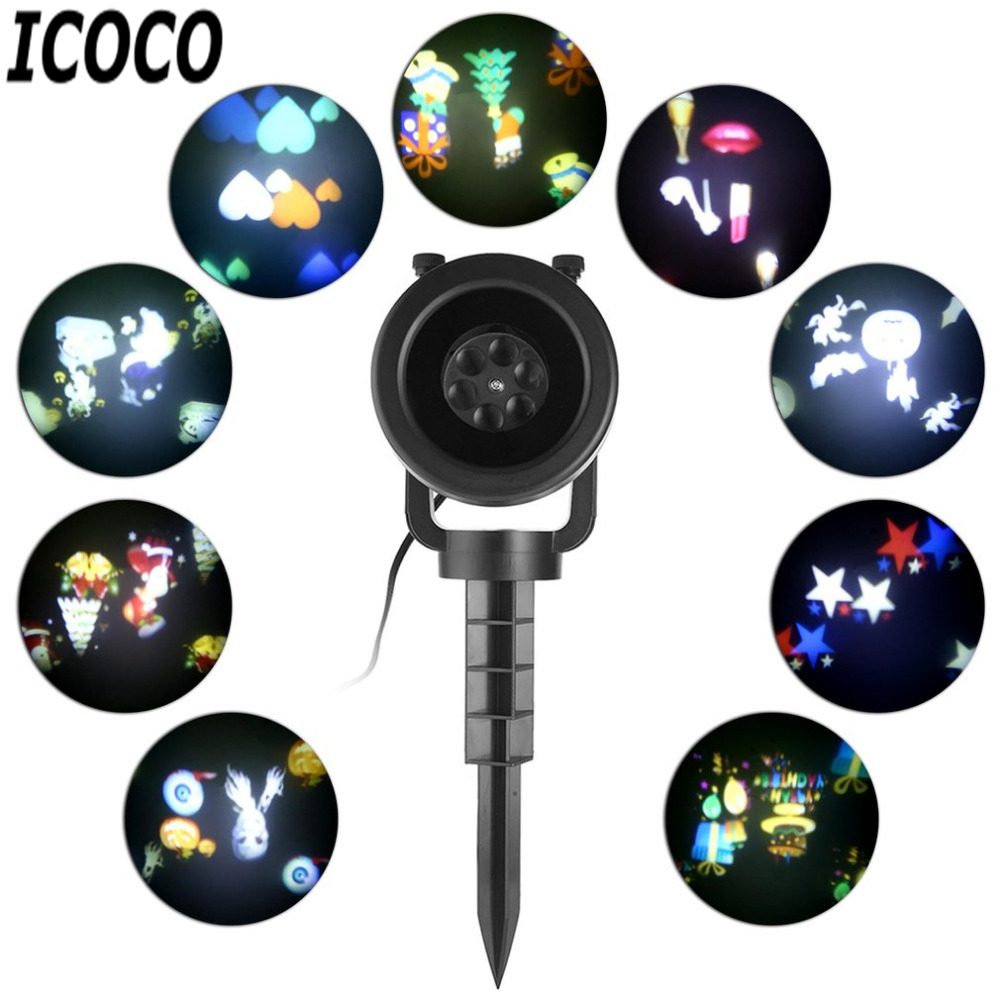 ICOCO Waterproof 4W 4LEDs Projection Light Projector LED Spotlight Led Lamp for Outdoor Indoor Party Xmas Holloween Decor