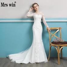 Vestido de casamento Nupcial Elegante Longo Sleevev Luxo Bordado Clássico Tribunal Trem Sexy Trumpet Vestido De Novias Para Meninas F