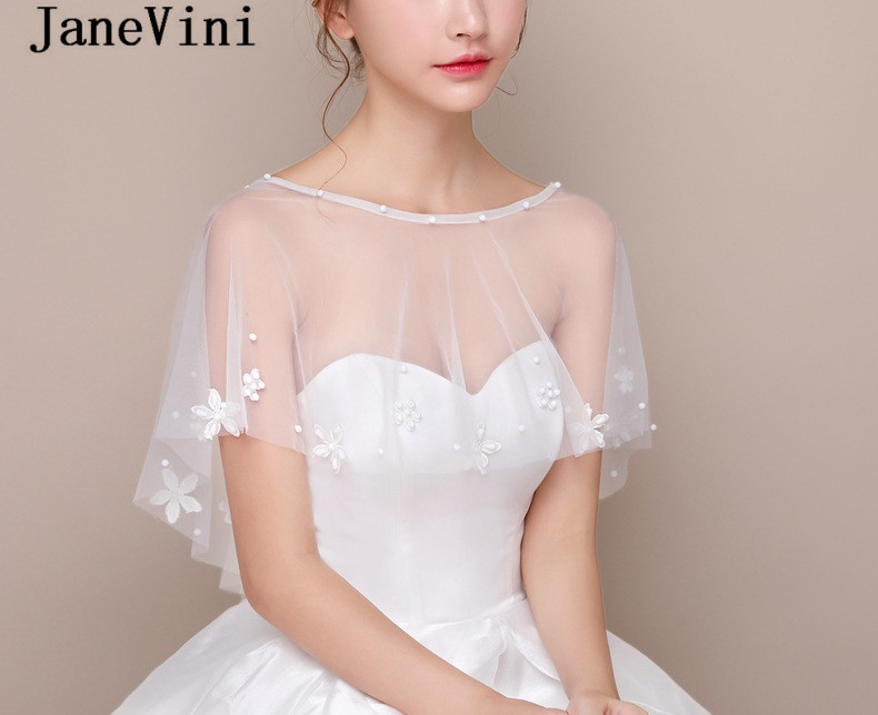 Купить с кэшбэком JaneVini Graceful Bride Flowers Wedding Cape Summer White Bolero Girl Tulle Shawl Wrap to Cover Arm Jacket Bridal Cloak Stoles