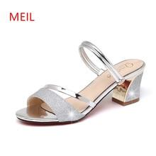 Sandales Femme 2018 Nouveau Ladies Sandals 6CM Peep Toe High Heels Women Mules Silver Shoes for Slippers Sandalet