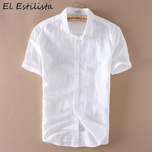 449c407e31 Pure White Mens Casual Linen Shirt Short Sleeve Turn-down Collar Solid  Color Clothing Breathable Leisure Shirts Hemp Clothes 4XL