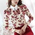 2016 Nuevas Llegadas de las mujeres blusa camisa de la manera Elegante de encaje de manga larga delgada camisas mujeres de talla grande ropa blusas de impresión