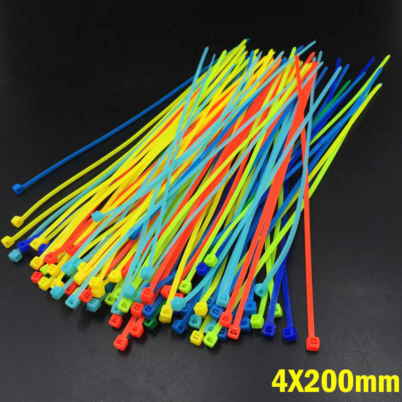 Min color 4X200MM Self-Locking Plastic Nylon Wire Cable Zip Ties 100pcs Mix Color Cable Tie Fasten Loop Cable Colorful