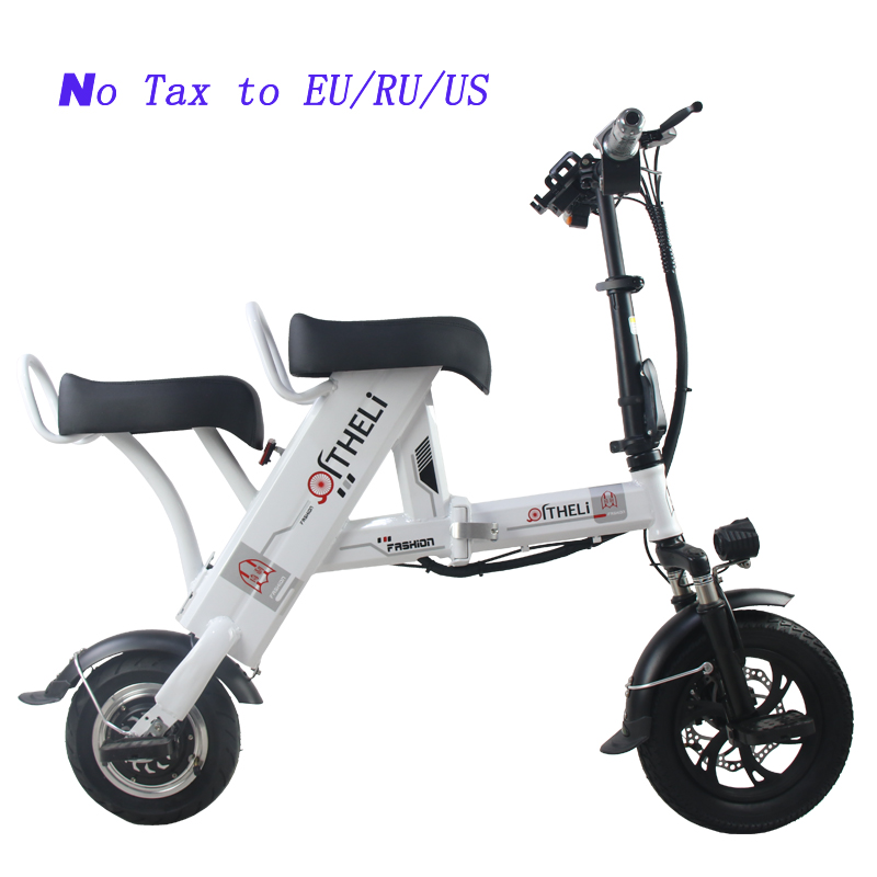 Cheap folding electric bike parent-child electric bicycle 12inch 2 people Folding portable ebike lithium battery electric bicycle 1