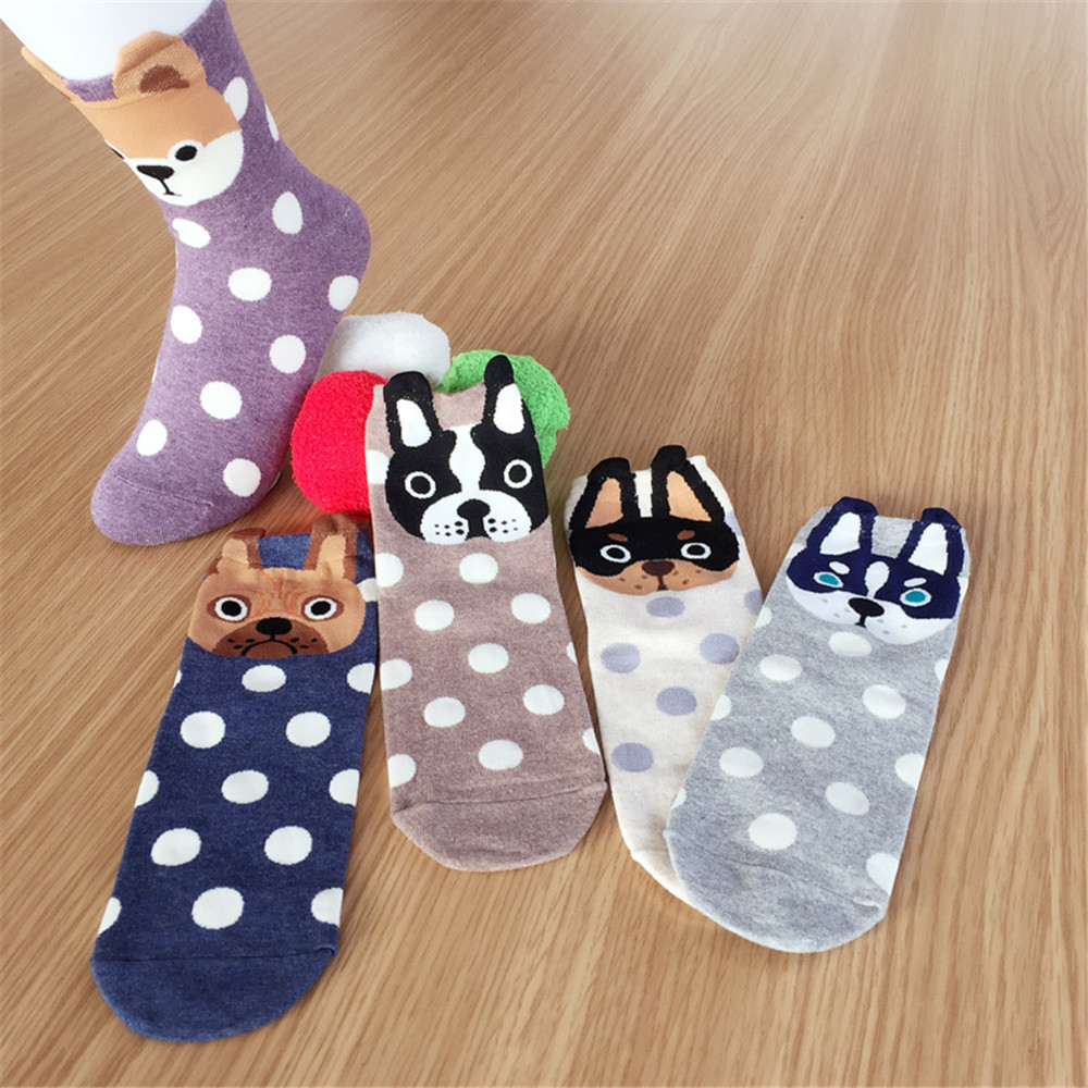 6 pair Cute Animal Cotton Socks for Women Female Kawaii Cartoon Dog Socks Breathable Womens Funny Socks cosplay