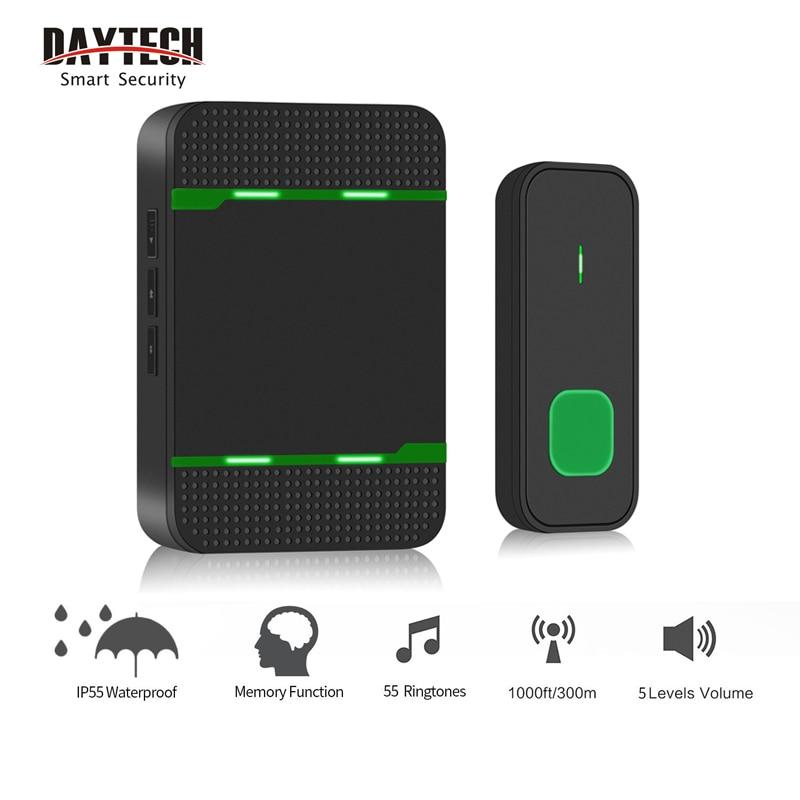 DATYECH Wireless Doorbell 55 Chimes Door Bell Ringtone Waterproof LED Indicator Cordless Smart Home Door Bells Drop Shipping
