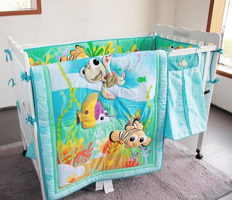 7PCS Embroidery Ocean Fish Baby Bedding Set Baby Crib Bedding Set Tour De Lit Bébé (4bumper+duvet+bed Cover+bed Skirt)
