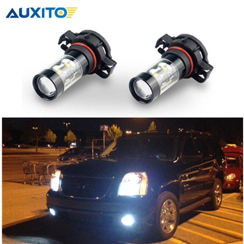 2 piezas 50 W H16 PSX24W H11 H8 LED COCHE niebla bombilla 9006 HB4 H10 880 881 bombilla LED luz corriente diurna del coche DRL de la lámpara 6500 K blanco