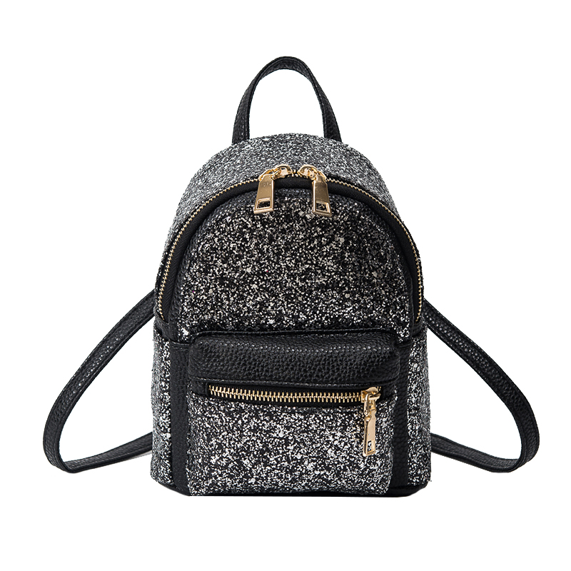 ФОТО Shiny Backpacks 2017 Small Women Back Bag New Korean Style Sequined Shoulder Bag Fashion Sliver Backpack Multi-Purpose Rugzakken