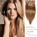 Silky Straight Brazilian Clip in Hair Extensions Human Hair,100% Virgin Hair Extension,7-10 Pcs/set light Brown #8 Clip ins 120G