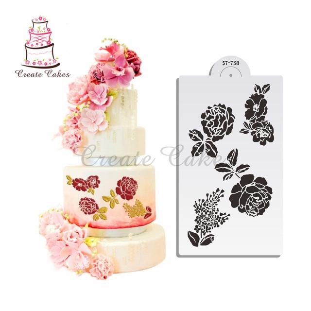 Rose Cake Lace Stencil Design Wedding Cake Decoration Plastic Border